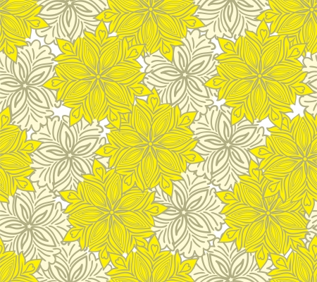 seamless yellow background of beautiful flowers of two shades Vector