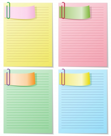 clinch: A set of four colored sheets with staples  Each can be used separately, easily editable