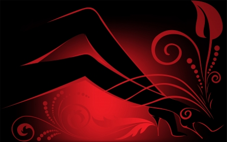 abstract black-and-red background with the silhouette of women Illustration