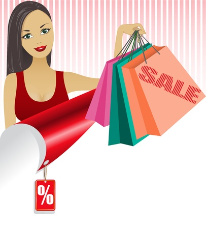beautiful girl with shopping bags looking out over the twisted sheet Vector
