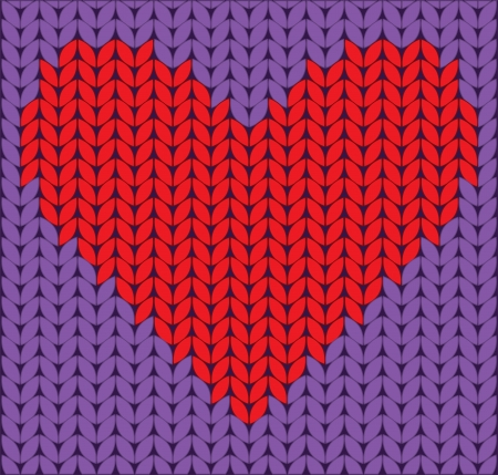 warm clothing: knitted red heart on lilac background