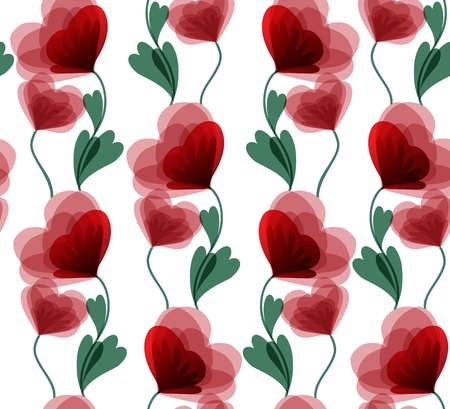 white seamless background with beautiful red flowers Vector