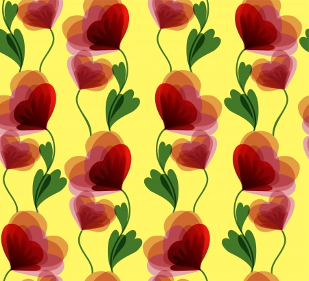 yellow seamless background with beautiful red flowers Vector