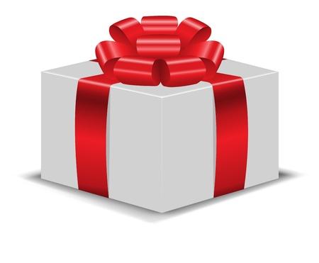 unexpectedness: caja de regalo de color blanco con un lazo rojo brillante sobre fondo blanco
