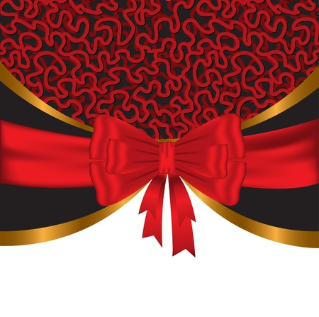 Elegant, festive background with shiny red and gold ribbons Vector