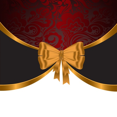 gala event: elegant, festive background with gold ribbons and red ornament