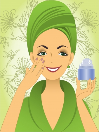 bathrobe: beautiful young woman in green bathrobe puts on the face cream Illustration