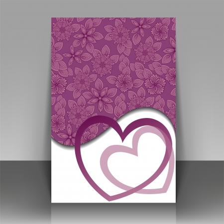 Beautiful purple postcard for Valentines Day or wedding Vector