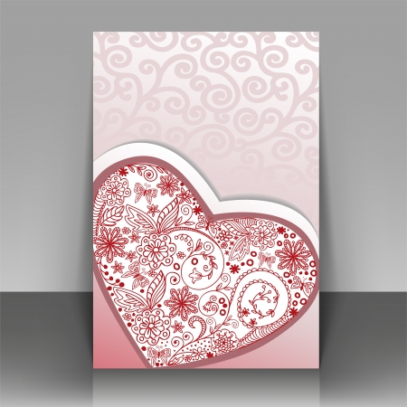 Romantic postcard with hand-drawn heart. Can be used as cover for the brochure. Vector