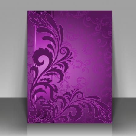 violeta: Flyer plantilla, folleto o diseño de portada para la edición, impresión y presentación.