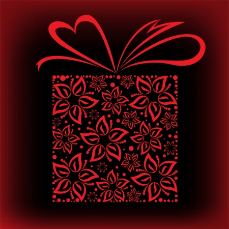 stylized red box with a bow of beautiful flowers Vector