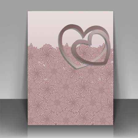 Beautiful pink postcard for Valentine's Day or wedding Stock Vector - 15550303