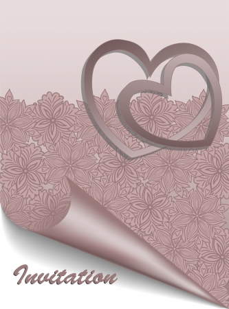 Beautiful pink postcard for Valentines Day or wedding Vector