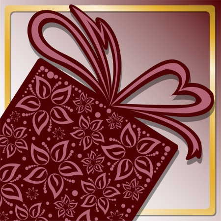 stylized gift box of beautiful flowers with golden frame Vector