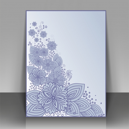 frizzy: Blue flyer design with beautiful flowers. Can be used as the cover of brochures Illustration