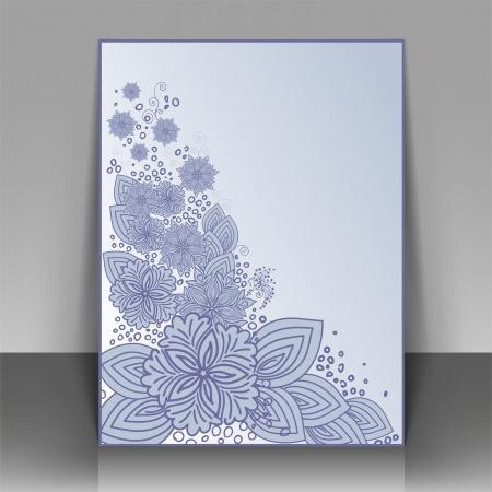 cutaway drawing: Volantino di design blu con bellissimi fiori. Pu� essere utilizzato come copertura di opuscoli