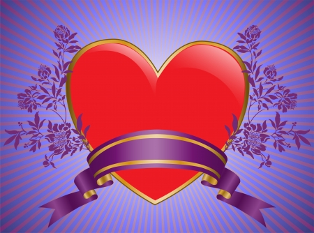 shiny vermeil heart framed by silk ribbons and flowers Vector