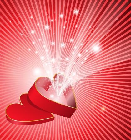 flickering: cuadro rojo abierto en la forma de un coraz�n de la cual fluye una luz parpadeante