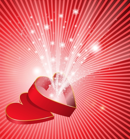 red  open: red open box in the shape of a heart from which flows a flickering light Illustration