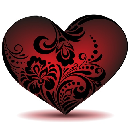 Beautiful red heart made of floral ornament.Use as a valentine Vector