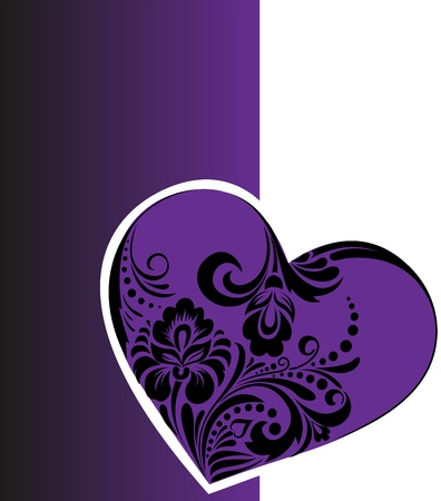 Beautiful heart made of floral ornament on a purple background Vector