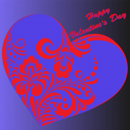 Beautiful romantic purple card with hearts for Valentines Day Vector