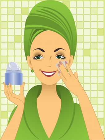 beautiful young woman in green bathrobe puts on the face cream Vector
