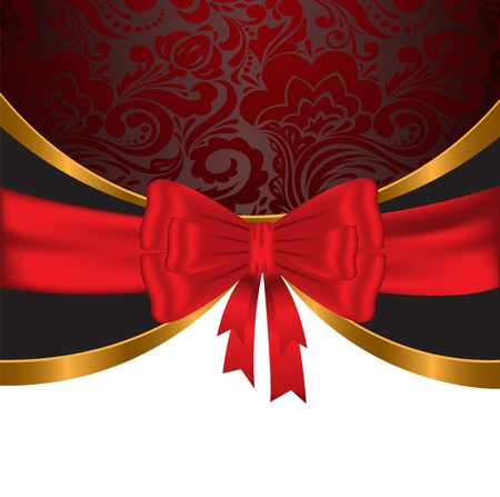 Elegant, festive background with shiny red and gold ribbons Stock Vector - 15540979