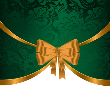 elegant, festive background with gold ribbons and green ornament Vector