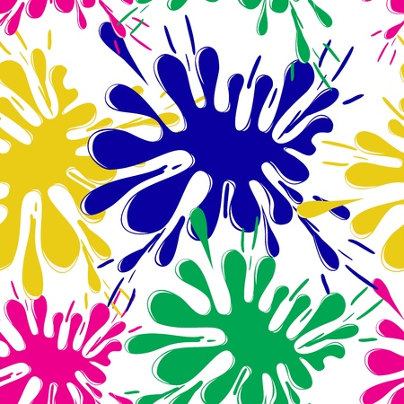 tempera: seamless white background with bright spots of paint Illustration