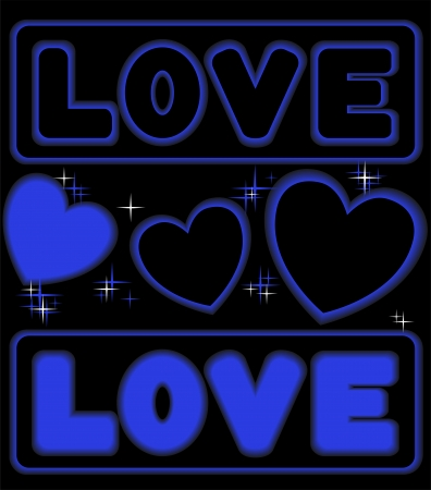 blue card with neon inscription and sparkling hearts Vector