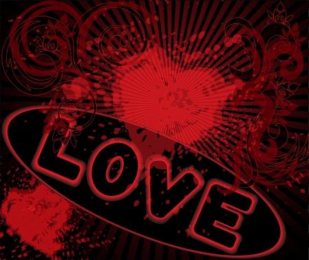 spattered: fondo salpicado de rojo con la inscripci�n y los corazones Vectores