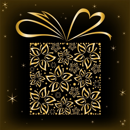 stylized gift box of beautiful gilded flowers Vector