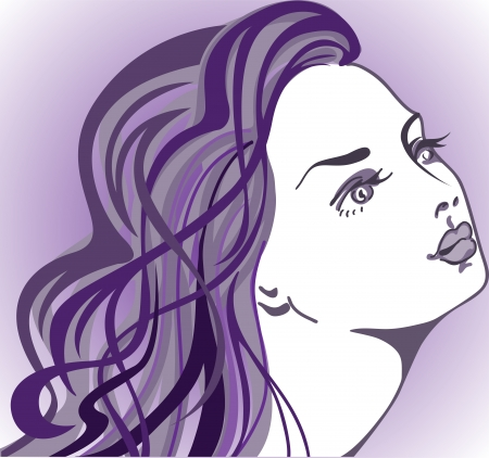 portrait of a beautiful girl with long hair on a purple background Vector