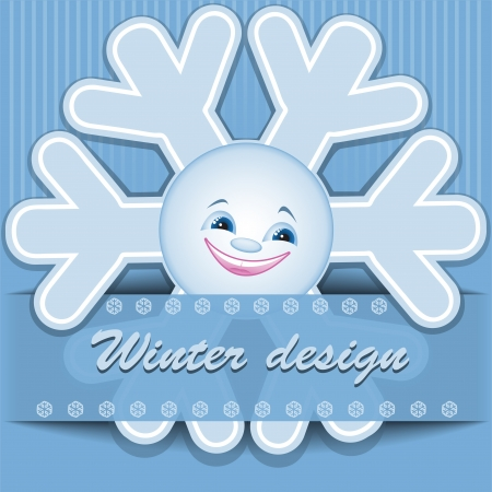 Blue Christmas background with funny snowflake Stock Vector - 16901179