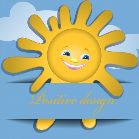 positive design with clouds and a smiling sun Vector