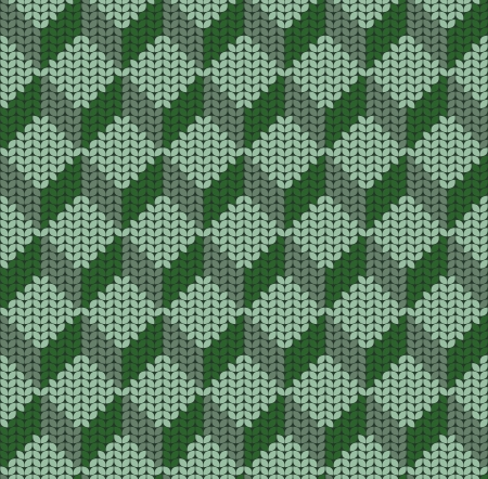 seamless pattern of green knitted cubes Vector
