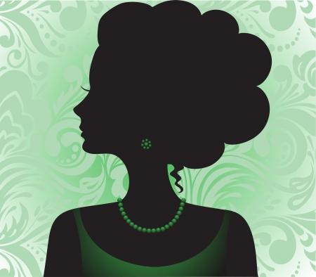 серьги: Силуэт красивая девушка с высокой прической на зеленый орнамент Иллюстрация