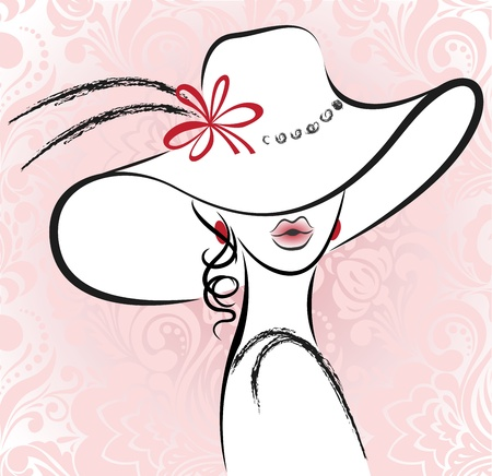 portrait of the beautiful woman in a hat with a flower Vector