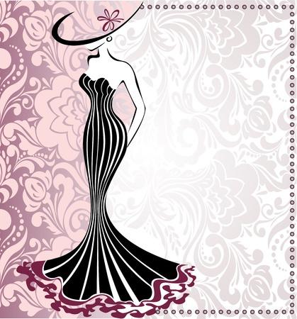 모자: 활과 모자 날씬한 여자의 실루엣 프레임 일러스트