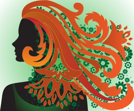 vernal: silhouette of the beautiful girl with long red hair