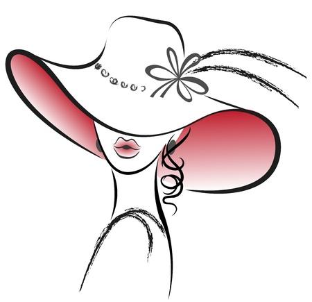 꽃과 빨간 모자에서 아름 다운 여자의 초상화 일러스트