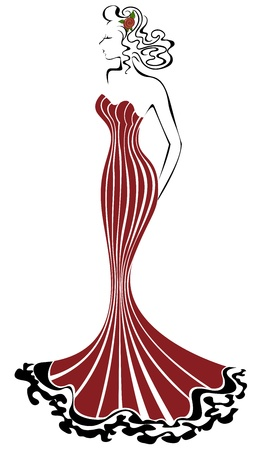 beautiful elegant woman in a long red dress Vector