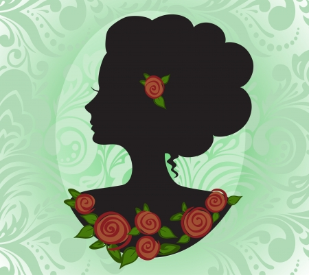 vernal: silhouette of the beautiful girl in a green vignette Illustration