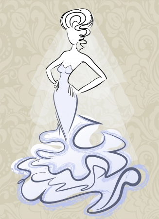silhouette of the slender woman in a beautiful wedding dress Vector