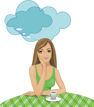fantasizing: beautiful girl in a green dress pensively drinks coffee