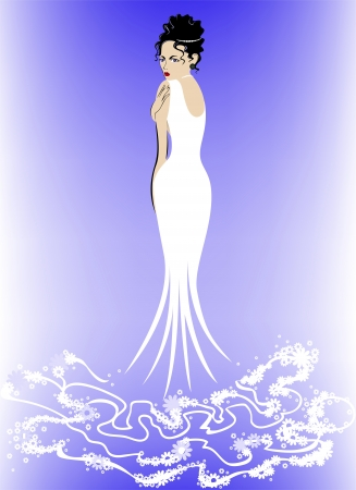 beautiful elegant woman in a long white dress with flowers Vector