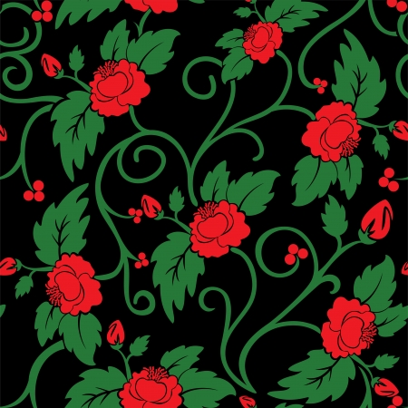 rose bud: black seamless background with curly red flowers