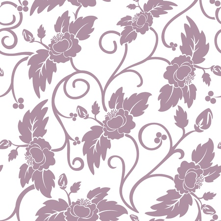 White seamless background with curly dark pink flowers Vector
