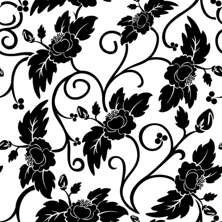 contrasty: White seamless background with curly black flowers Illustration